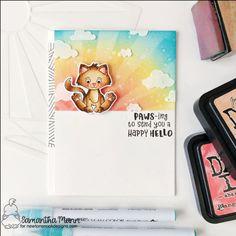 Cloud Stencil, International Cat Day, Christmas Kitten, Kitten Love, Custom Stencils, Love Stamps, Cat Cards, Animal Cards, Valentine Day Cards