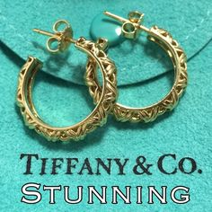 """Final $ HP18k gold Tiffany & Co Hoop Earrings These are so stunning!! You are looking at an Authentic Rare & Vintage Tiffany & Co. 18k gold Hoop Earrings! Measures 0.75"""" X 0.75"""". Marked Tiffany & Co 750 with copyright stamp inside the hoops & on the posts & on the butterfly backs T&Co 750. These are in great condition w/ a few surface scratches consistent w/ age & normal wear. Comes w/ Tiffany pouch & box!! Please make REASONABLE offer using the offer button! SO BEAUTIFULHOST PICK 3/14 Work…"""