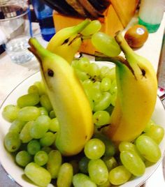 Banana Dolphins in the Sea of Grapes-fun way to get kids to eat fruit!