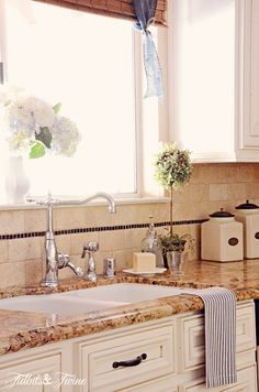White cabinets and gold/cream/brown granite How I Found My Style Sundays- Tidbits