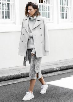 all grey street style: mix of texture