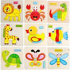 3D Rompecabezas de madera Rompecabezas Juguetes De Madera Para Niños de Dibujos Animados de Animales Puzzle de Inteligencia de Juguetes educativos para Niños Juguetes para Regalos de Los Chrismas