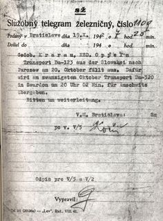 A telegraom from Slovak railways from October 19, 1942 considering transit of Jews deported to KL Auschwitz through the border station in Zwardoń.