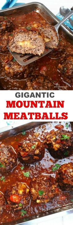 Ginormous, juicy Meatballs, stuffed with Cheese in a rich, comforting sauce