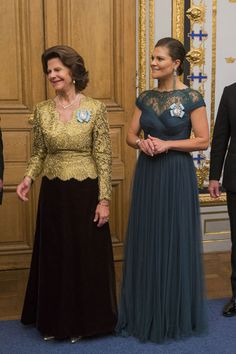 The beautiful Queen Silvia & Crown Princess Victoria of Sweden. Victoria's little Princess Estelle is the newest Haga Princess being brought up in Haga Palace.