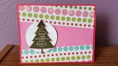 This Christmas card was made with paper and stamp from general craft stores.  I used Stampin Up stamp set Peaceful Pines and the matching framelit set Perfect Pines.  For ink I used Stampin Up Mossy Meadow and Versa Magic Aloe Vera.