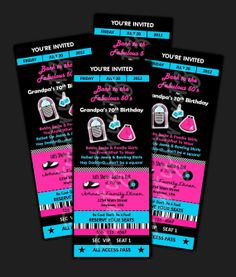 Printable - 50's Party  -  Ticket Invitations Custom Personalized