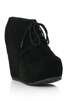 FancyLA.com ~ Berkeley-01 Black Suede Lace Up Wedge Ankle Bootie