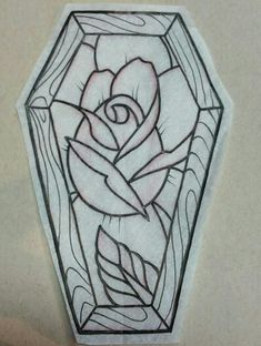 Coffin and rose tattoo idea