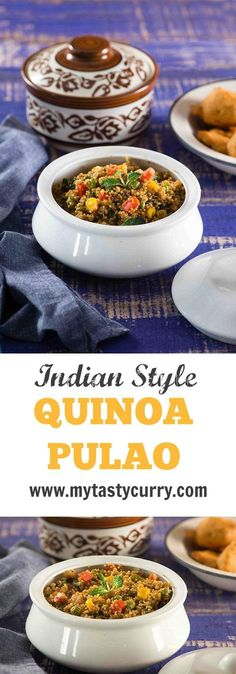 Pulao Quinoa pulao is healthy gluten-free and delicious protein rich delicious Indian dish made with Quinoa.Quinoa pulao is healthy gluten-free and delicious protein rich delicious Indian dish made with Quinoa. Vegan Indian Recipes, Vegetarian Recipes, Healthy Recipes, Veg Recipes, Healthy Dishes, Vegetarian Cooking, Burger Recipes, Curry Recipes, Healthy Cooking