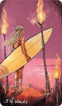 Card of the Day – 3 of Wands – Monday, July 20, 2020 – Tarot by Cecelia Wicca, Three Of Wands, Tarot Card Meanings, Angel Cards, Oracle Cards, Visionary Art, Tarot Decks, Deck Of Cards, Surreal Art