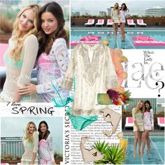 Miranda Kerr and Candice Swanepoel Launch the 2012 VS Swim Collection, created by moni-xoxo-b-day-august-6 on Polyvore