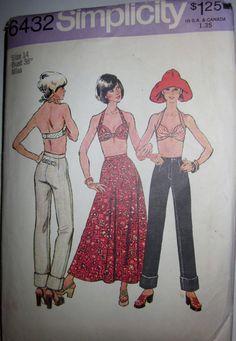 Simplicity 6432 Women Bra Top Skirt Jeans 1970s by Denisecraft, $10.99