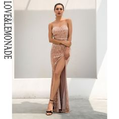 Champagne Tube Top Elastic Sequin Material Long Dress Price  78.24   FREE  Shipping  cute 898fecc47656
