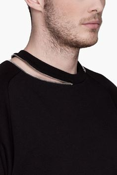 SAINT LAURENT Black zip collar sweatshirt
