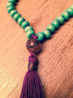 Items similar to Turquoise abacus mala on Etsy Tassel Jewelry, Tassel Necklace, Third Eye, Roots, My Etsy Shop, Turquoise, Gemstones, Stars, Purple