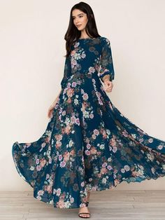4280edc1f48 Popular Floral Sleeves Round-neck Maxi Dress M  floraldress  longdress   maxidress