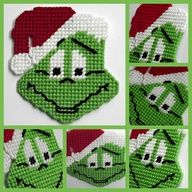 Plastic canvas Mr Grinch holiday magnet by HomespunCrafting Plastic Canvas Coasters, Plastic Canvas Ornaments, Plastic Canvas Tissue Boxes, Plastic Canvas Crafts, Plastic Canvas Patterns, Plastic Canvas Christmas, Canvas Designs, Tissue Box Covers, Cross Stitching