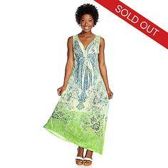702-733 - One World Printed Knit Sleeveless Crochet Back Maxi Dress