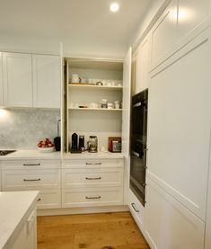 Fitted with bifold doors and adjustable shelving, power points and bench space to create a functional appliance cabinet. Open Shelving, Adjustable Shelving, Shelves, Appliance Cabinet, Hamptons Kitchen, Pantry Organisation, Power Points, Pantry Design, Custom Kitchens