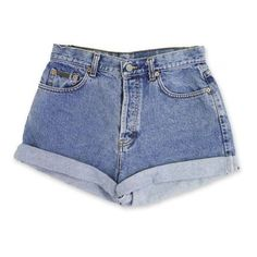 Vintage 90s Calvin Klein Light/Medium Blue Wash High Waisted Rise Cut... ❤ liked on Polyvore featuring shorts, bottoms, high-waisted jean shorts, high waisted cuffed shorts, denim shorts, cut-off and high-waisted shorts
