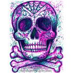 ORIGINAL DRAWING Sharpie Pop Art Artwork 9 x 12 in. Neon Death Series Day of the Dead Sugar Skull Girl Tattoo Art Illustration