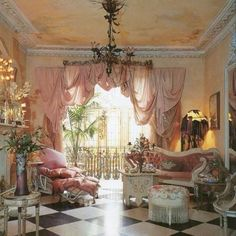 Pink & cream Victorian furniture A La Shabby, cute after all.