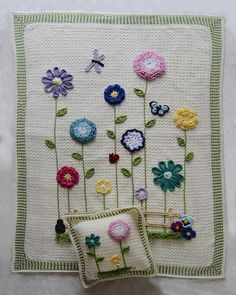 Maggie's Crochet · Field of Flowers Afghan & Pillow Set --- adapt this and use crocheted flowers on a felt/flannel blanket (quicker to make up that way!)