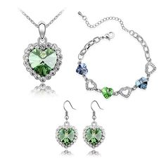 CASOTY 'True Love' Luxury Crystal Necklace Bracelets Earrings Set Jewelry Sets for Women Girls (Green) * Check out this great product. (This is an affiliate link and I receive a commission for the sales)