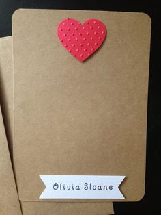 Personalized Heart with Polka Dots, Handmade and Custom Made Stationery and Thank You Cards for Kids, Set of 8 on Etsy, $12.00