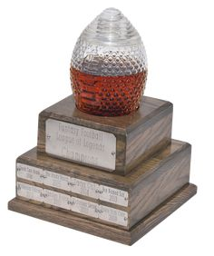 Glass Fantasy Football Trophy Decanter (2 Week Backorder) Fantasy Football League, Fantasy League, Home Wet Bar, Football Trophies, Classic Equine, Engraved Plates, Champions Trophy, Ice Sculptures, Glass Material