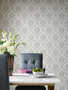 Broughton by 1838 Wallcoverings - Grey - Wallpaper : Wallpaper Direct Grey Damask Wallpaper, Marimekko Wallpaper, Harlequin Wallpaper, Wallpaper Samples, Home Wallpaper, Designers Guild Wallpaper, Cole And Son Wallpaper, Morris Wallpapers, Home Accessories