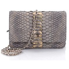 Chanel Wallet on Chain Quilted Python (3,235 BAM) ❤ liked on Polyvore featuring bags, wallets, chanel wallet, quilted chain bag, chain bag, quilted wallet and python wallet