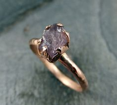 Raw Uncut Rough Purple Spinel Solid 14K Rose Gold by byAngeline, $425.00