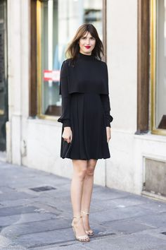 Jeane Damas- in classy little black dress, red lipstick, gold sandals. street style