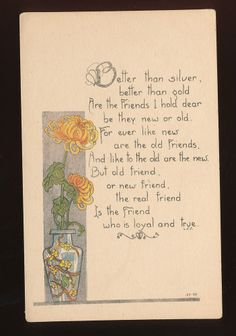Art Nouveau Vase & Flowers Friendship Poem Antique Postcard-mmm76