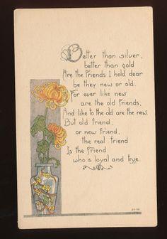 Art Nouveau Vase & Flowers Friendship Poem Antique Postcard-mmm76
