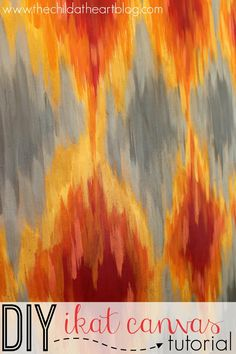 DIY Ikat Canvas Art Tutorial: how to paint an ikat diamond pattern and use a tea treatment to give it that vintage feel!
