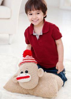 Red Heart® Sock Monkey Pillow Pal  #crochet #pattern #sockmonkey