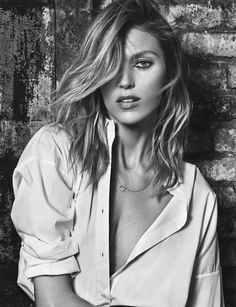 Anja Rubik gets her closeup in black and white image for ELLE Spain magazine July 2016