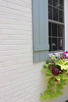 shutter color is Benjamin Moore - Brester Gray HC 162 body of house is Benjamin Moore Classic Gray Front door color. Paint Colors For Home, House Paint Exterior, House Shutter Colors, Shutters Exterior, Painted Brick House, House Shutters, Brick Colors, Painted Brick, Exterior House Colors