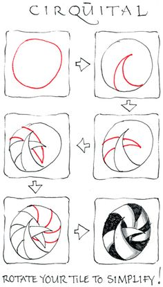 """Cirquital    Here's a fun and simple tangle. It all circles and arcs. According to one of Zentangle's approaches, everything is drawn behind.    It's a tangle that invites bold areas of black and dynamic shading. Cirquital also mixes well with other tangles    Although its name suggests """"circle,"""" it is derived from """"cirque,"""" French for circus."""