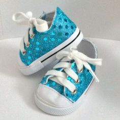 Aqua Sparkle Shoes - Fits almost all 18 inch dolls including our own Sew *Able* dolls and American Girl Dolls.