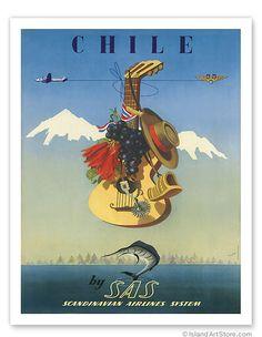 Scandinavian Airlines Chile, Gaucho Guitar - Giclée Art Prints & Posters De Ambrogio, c.1951