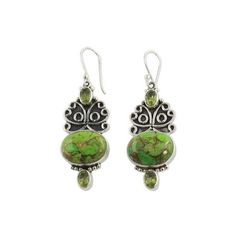 NOVICA Handcrafted Silver Green Turquoise and Peridot Earrings ($55) ❤ liked on Polyvore featuring jewelry, earrings, dangle, peridot, silver turquoise earrings, silver peridot earrings, silver jewelry, novica earrings and turquoise dangle earrings