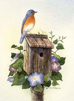 Bluebird III by Maureen Mccarthy Watercolor Pictures, Watercolor Bird, Watercolor Paintings, Blue Bird Art, Tattoo Zeichnungen, Country Art, Bird Pictures, China Painting, Art Design