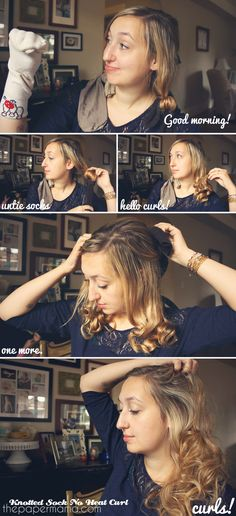 No Heat Sock Curls...think ill be trying this tonight...way easier than the sock bun hopefully!  This works amazingly well!  Way better than the sock bun curl...just be careful not to wind to.tight around the sock...my.curls are currently up by my jaw lol. Tonight.I'm going to try for softer ones! :)  can.we say Christmas hair do?! Yay!! Cause using s curling iron is time consuming!