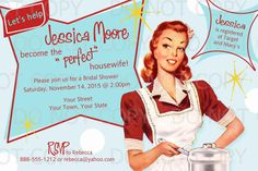 This listing is for personalized Print it/Do-It-Yourself Retro Housewife Theme Bridal Shower Party Invitation. The personalized invitation will be sent as a 4x6 JPEG (photo) file or as an 8.5x11 pdf (two invites per page). Upon checkout, I will need to know the following information:  Brides name Date Time Place RSVP contact information Brides registry information alternate wording, if any FORMAT preferred: two invites on 8.5x11 JPEG to save on printing cost or one 4x6 JPEG file. You may...