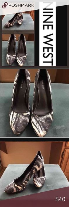 "Zebra Print Heels Color(s): black white Condition: like new, worn one time only for approximately one hour. Size tag: 9.5M  Measurements:  🔹heel height 4.5"" Fabric: canvas Care: n/a Special features: gorgeous shoes, original retail was $95 but too high for this older girl who is young at heart; my loss is your gain! Nine West Shoes Heels"