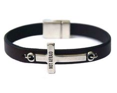 Husband Gift Stepdad Gift For Christmas Spiritual Gift Personalized Leather Bracelet with Cross Mens Leather bracelet Silver Sideways Cross Gold And Silver Bracelets, Cheap Silver Rings, Black Bracelets, Bracelets For Men, Silver Jewelry, Silver Earrings, Christian Men, Christian Jewelry, Shops